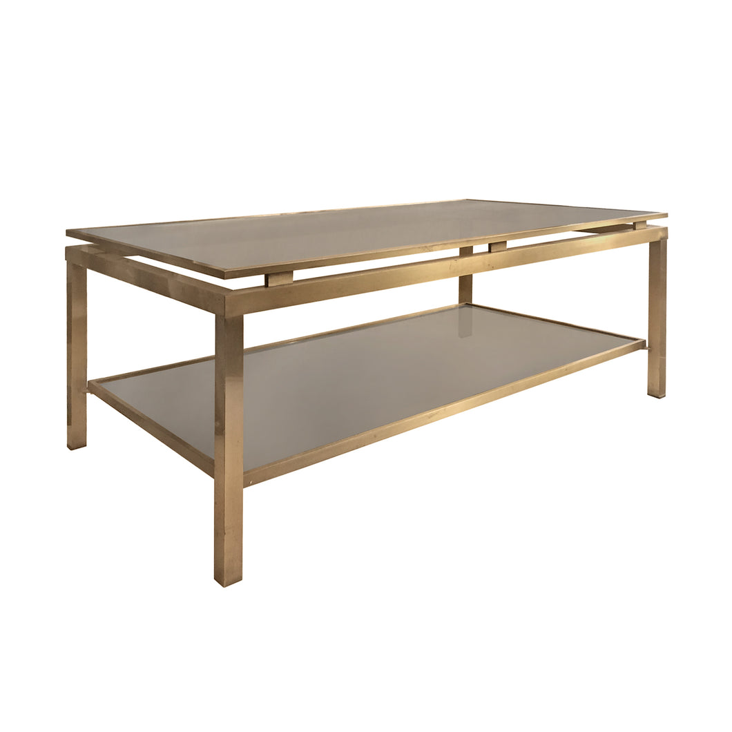 GUY LEFEVRE FOR MAISON JANSEN TWO TIER BRASS AND GLASS COFFEE TABLE - Flair Home Collection