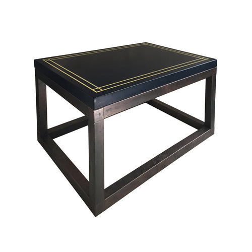 RECTANGULAR BRONZE BASE SIDE TABLE WITH NAVY LACQUERED TOP AND IVORY BANDING - Flair Home Collection