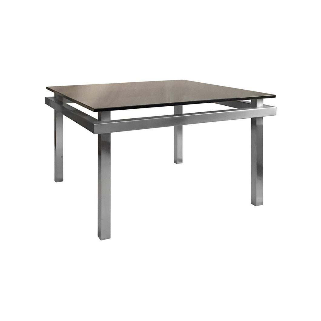 SQUARE NICKEL SIDE TABLE WITH FLOATING SMOKE GLASS TOP - Flair Home Collection