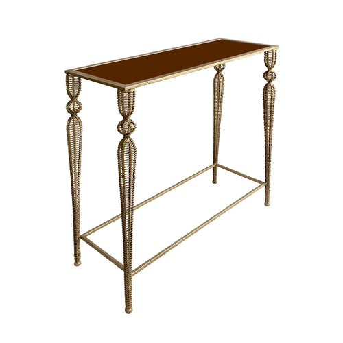 MIDCENTURY RECTANGULAR GOLD METAL MESH LEG CONSOLE WITH COPPER GLASS TOP - Flair Home Collection
