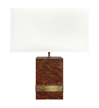 Load image into Gallery viewer, BURL WOOD AND BRONZE BANDED TABLE LAMP - Flair Home Collection