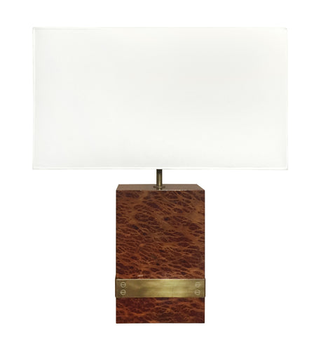 BURL WOOD AND BRONZE BANDED TABLE LAMP - Flair Home Collection