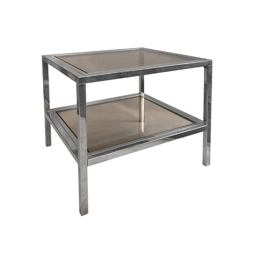 TWO TIER BRASS AND CHROME SQUARE SIDE TABLES WITH SMOKED GLASS - Flair Home Collection