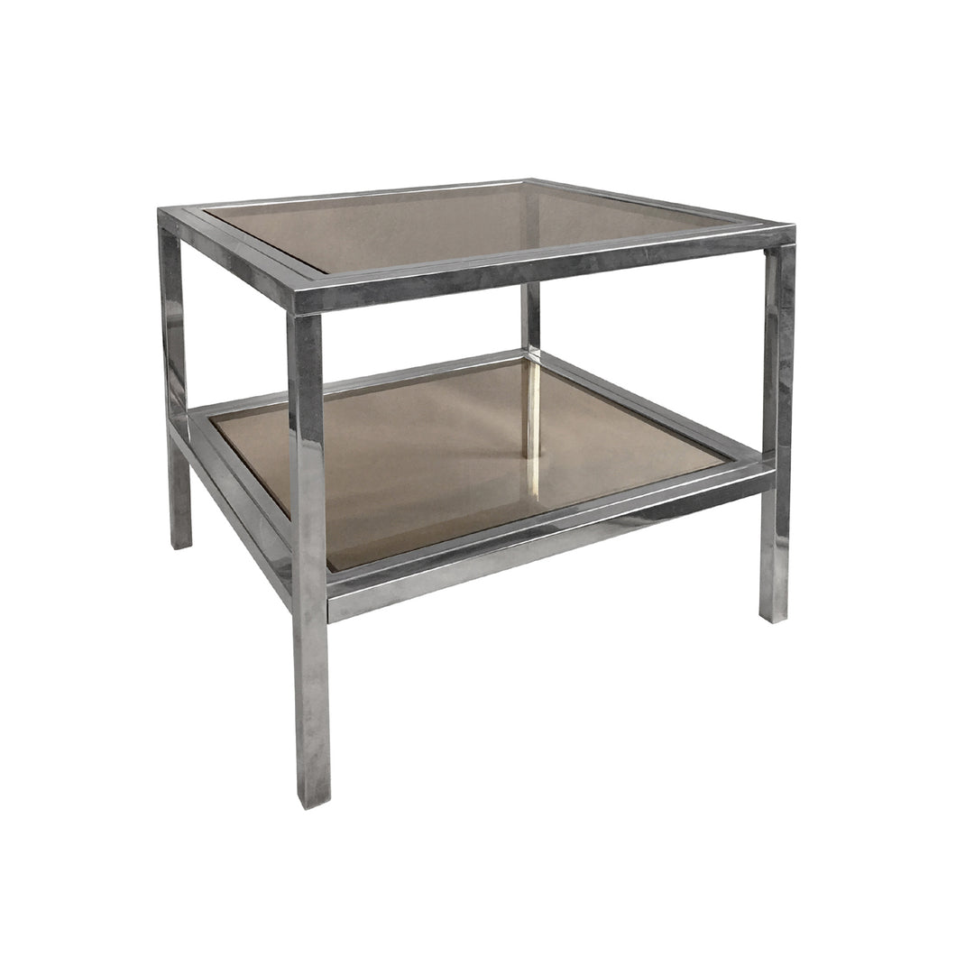 VINTAGE TWO TIER BRASS AND CHROME SQUARE SIDE TABLES WITH SMOKED GLASS - Flair Home Collection