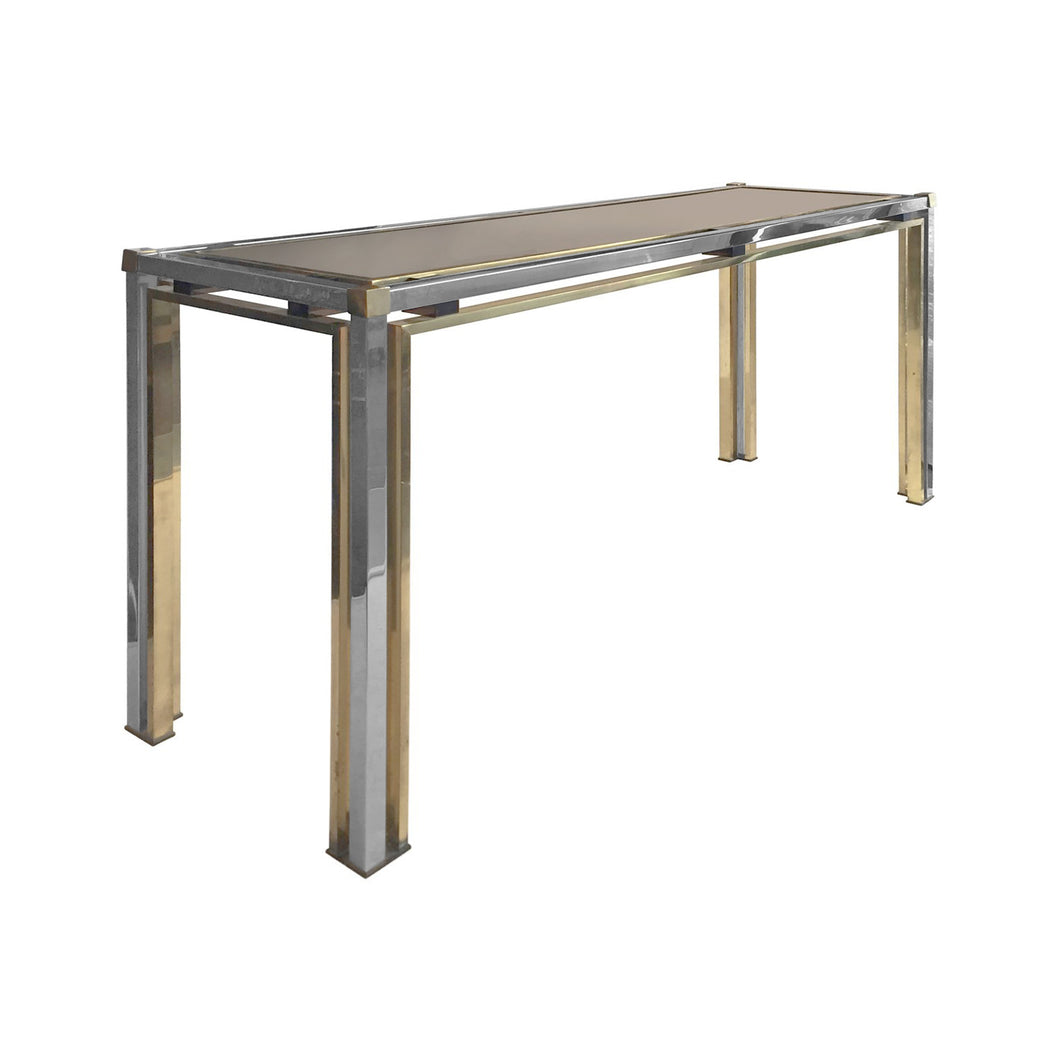 ROMEO REGA RECTANGULAR BRASS AND CHROME CONSOLE - Flair Home Collection
