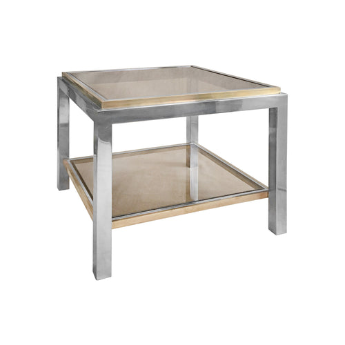 SQUARE TWO TIER BRASS AND CHROME SIDE TABLE BY JEAN CHARLES - Flair Home Collection