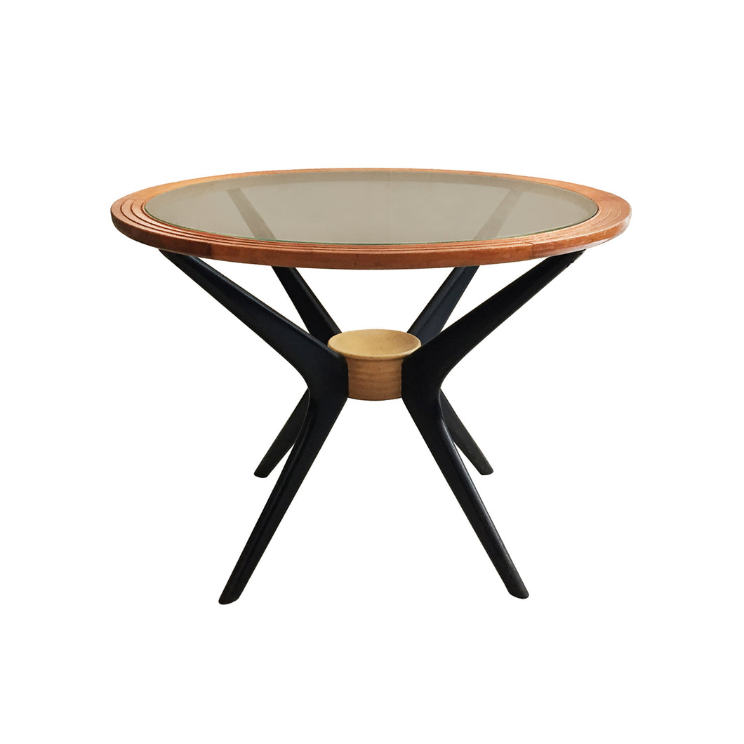 MIDCENTURY ROUND WOOD SIDE TABLE WITH BRONZE GLASS TOP AND EBONIZED SPLAYED LEGS - Flair Home Collection