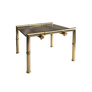 SQUARE BRASS FAUX BAMBOO SIDE TABLE WITH FLOATING BRONZE GLASS TOP - Flair Home Collection