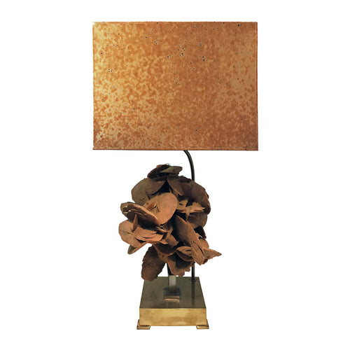 BRASS TABLE LAMP WITH SANDSTONE BLOOM AND ORIGINAL METALLIC SHADE BY WILLY DARO - Flair Home Collection