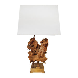 BRASS TABLE LAMP WITH SANDSTONE BLOOM BY WILLY DARO - Flair Home Collection