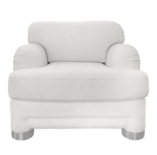 Load image into Gallery viewer, WHITE CURVED ARM CHAIR WITH ROUND CHROME LEGS - Flair Home Collection