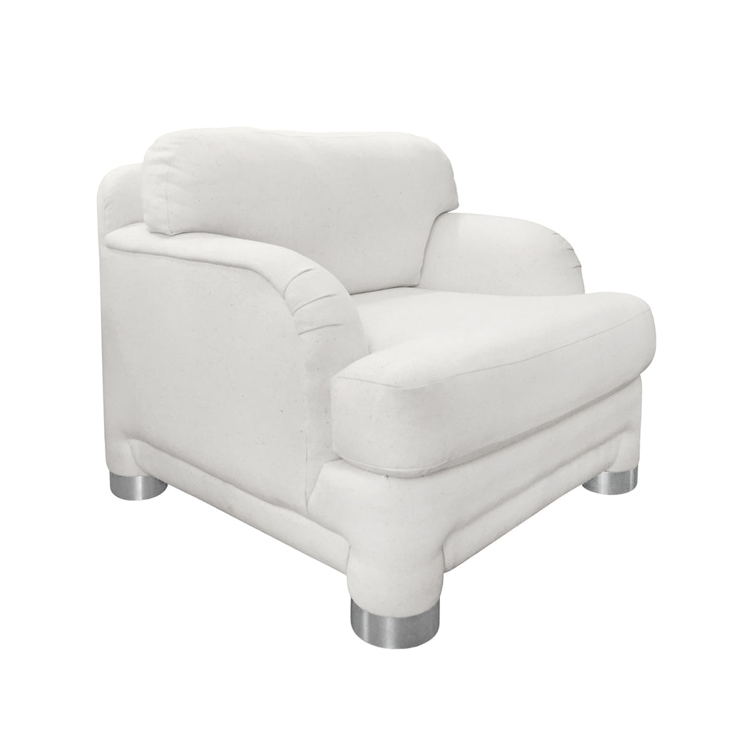WHITE CURVED ARM CHAIR WITH ROUND CHROME LEGS - Flair Home Collection