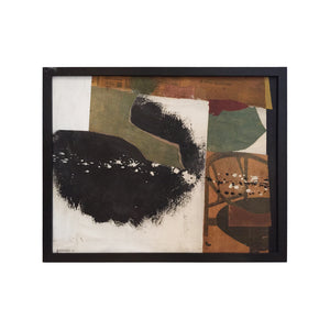 MIDCENTURY MIXED MEDIA IN WHITE, GREEN, BLACK, AND BROWN TONES BY GEORGE NORTH MORRIS - Flair Home Collection