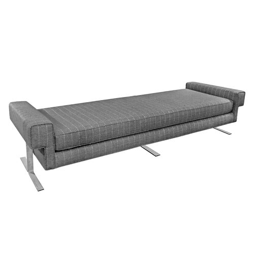 VINTAGE DAYBED IN GREY WINDOWPANE FLANNEL ON CHROMED IRON BASE - Flair Home Collection