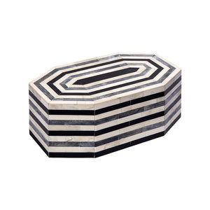 LARGE OCTAGONAL GEOMETRIC HORN BOX IN CREAM, GREY AND BLACK - Flair Home Collection