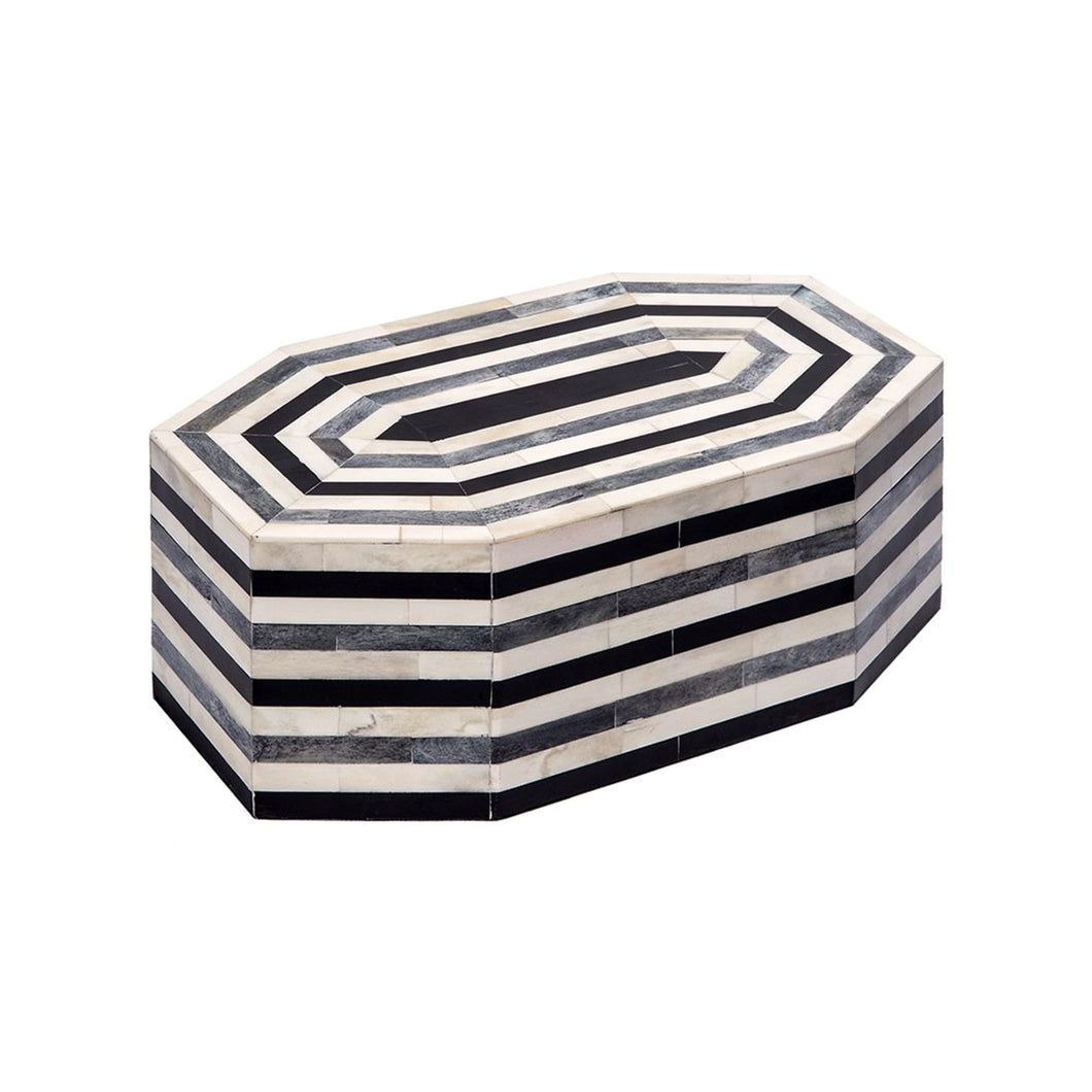 LARGE OCTAGONAL GEOMETRIC HORN BOX IN CREAM, GREY AND BLACK