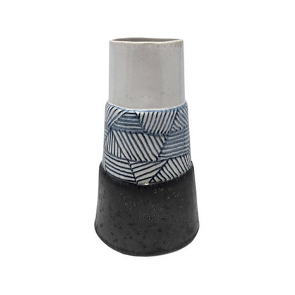 TALL WIDE BASE CERAMIC VASE WITH GRAPHITE GEOMETRIC PATTERN - Flair Home Collection