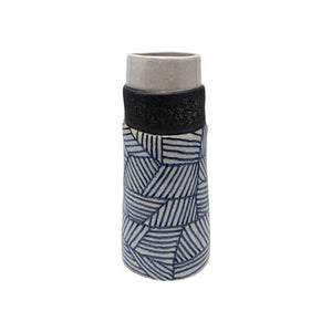 MEDIUM CERAMIC VASE WITH GRAPHITE GEOMETRIC PATTERN - Flair Home Collection