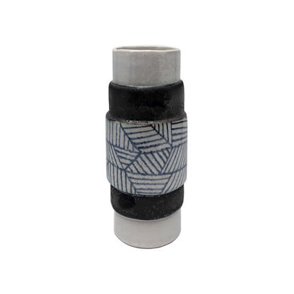 CERAMIC TOTEM VASE WITH GRAPHITE GEOMETRIC PATTERN - Flair Home Collection