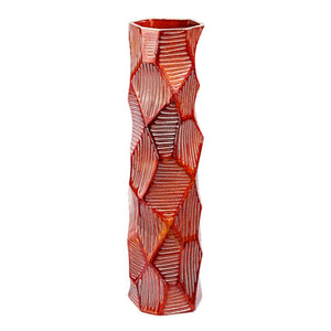 TALL  FACETED CERAMIC VASE WITH ETCHED TERRACOTTA GLAZE - Flair Home Collection