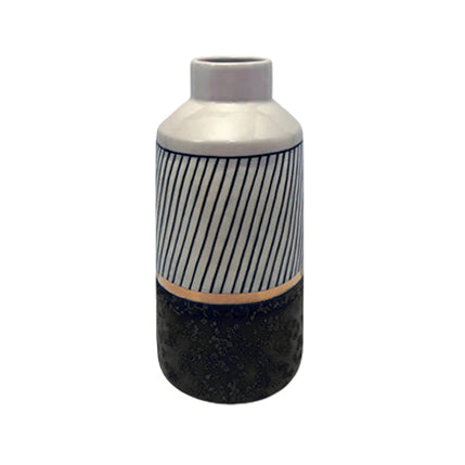 TALL CERAMIC VASE WITH STRIPED MIDNIGHT GLAZE, BAND OF GOLD, AND GRAPHITE BASE - Flair Home Collection