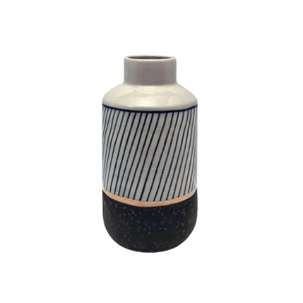 MEDIUM CERAMIC VASE WITH STRIPED MIDNIGHT GLAZE, BAND OF GOLD, AND GRAPHITE BASE - Flair Home Collection