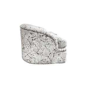 CURVED BACK SLOPED ARM LOVESEAT WITH ORIGINAL SPLATTER UPHOLSTERY - Flair Home Collection