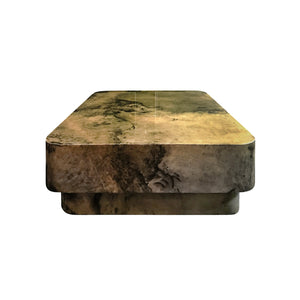 LACQUERED GREEN PARCHMENT COFFEE TABLE - Flair Home Collection