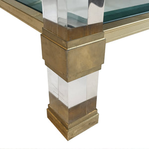 VINTAGE SQUARE TWO TIER BRASS AND LUCITE COFFEE TABLE - Flair Home Collection