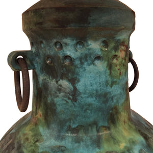 VINTAGE ALVINO BAGNI FOR RAYMOR CERAMIC JAR LAMP IN BLUE GREEN GLAZE - Flair Home Collection