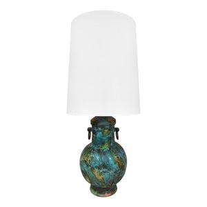 ALVINO BAGNI FOR RAYMOR CERAMIC JAR LAMP IN BLUE GREEN GLAZE - Flair Home Collection