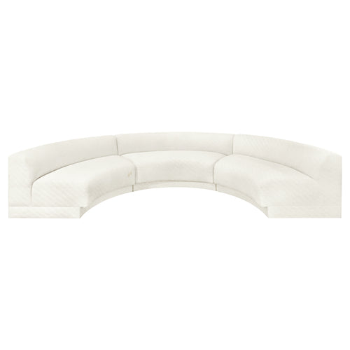 VINTAGE THREE PIECE CURVED SECTIONAL SOFA IN ORIGINAL IVORY UPHOLSTERY - Flair Home Collection