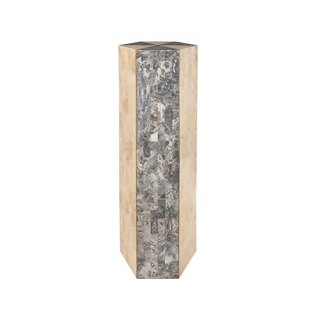 VINTAGE TESSELLATED LIGHT AND DARK STONE HEXAGONAL COLUMN WITH BRASS INLAY - Flair Home Collection