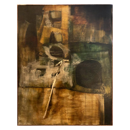 LARGE MIDCENTURY ABSTRACT OIL PAINTING IN EARTH TONES - Flair Home Collection