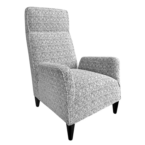 FLAIR HOME COLLECTION CUSTOM TORINO HIGH BACK CHAIR IN BLACK AND WHITE BOUCLÉ - Flair Home Collection