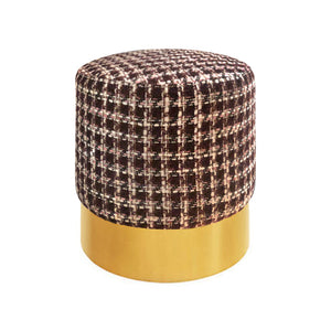 CUSTOM ROUND PINK AND BURGUNDY BOUCLÉ STOOL ON BRASS BASE - Flair Home Collection