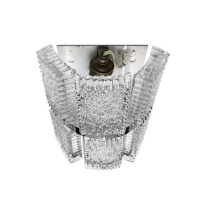 SPIKED GLASS PLAQUE SCONCE WITH CHROME BANDING - Flair Home Collection
