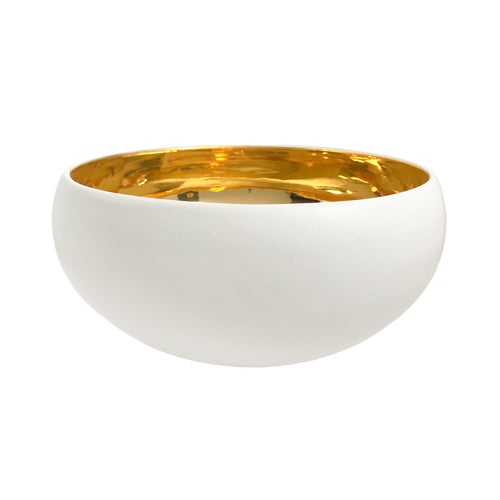LARGE ALABASTER GLAZE CURVED CERAMIC BOWL WITH 22K LUSTRE INTERIOR - Flair Home Collection