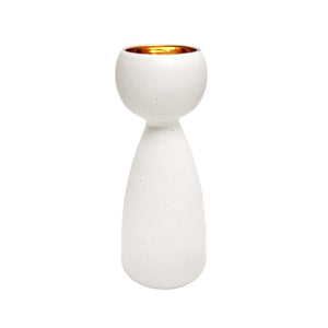 ALABASTER GLAZE CERAMIC CHALICE #5 WITH 22K LUSTRE INTERIOR - Flair Home Collection