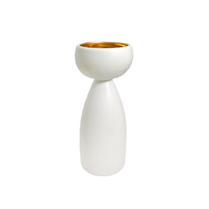 ALABASTER GLAZE CERAMIC CHALICE #9 WITH 22K LUSTRE INTERIOR - Flair Home Collection