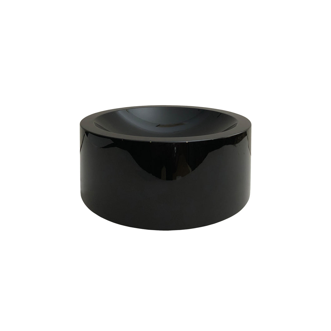 ROUND BLACK CONVEX GLASS BOWL - Flair Home Collection