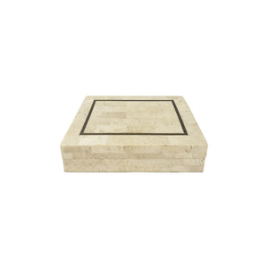 SMALL MAITLAND SMITH TESSELLATED STONE BOX WITH BRASS INLAY - Flair Home Collection