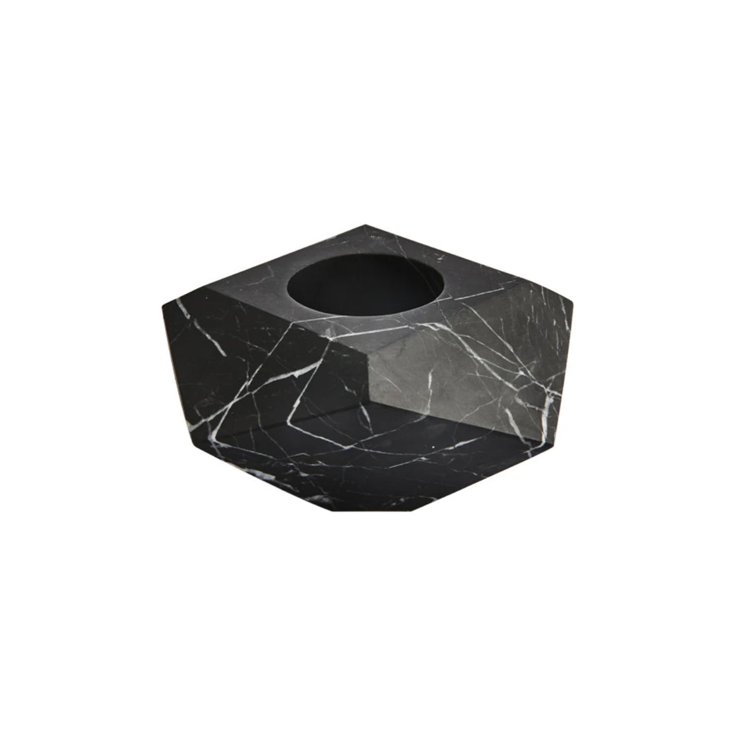 GEM BOWL/CANDLE HOLDER IN NERO MARQUINA MARBLE - Flair Home Collection
