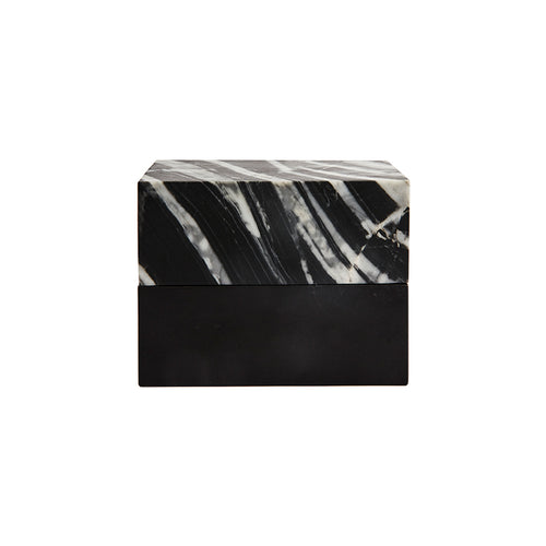 RECTANGULAR VAULT BOX IN ZEBRANO MARBLE AND BLACK STONE - Flair Home Collection