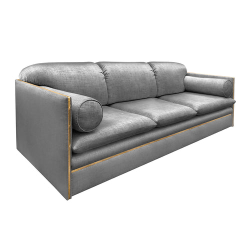 ITALIAN THREE SEAT SOFA WITH BRASS PROFILE - Flair Home Collection