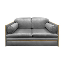 Load image into Gallery viewer, VINTAGE ITALIAN LOVE SEAT WITH BOLSTER CUSHIONS AND BRASS PROFILE - Flair Home Collection