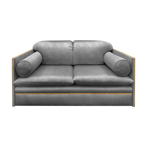 VINTAGE ITALIAN LOVE SEAT WITH BOLSTER CUSHIONS AND BRASS PROFILE - Flair Home Collection