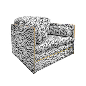 ITALIAN CLUB CHAIR WITH BRASS PROFILE - Flair Home Collection