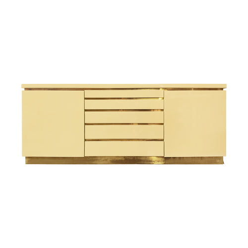 IVORY LACQUER SIDEBOARD WITH BRASS DETAILS BY JEAN CLAUDE MAHEY - Flair Home Collection