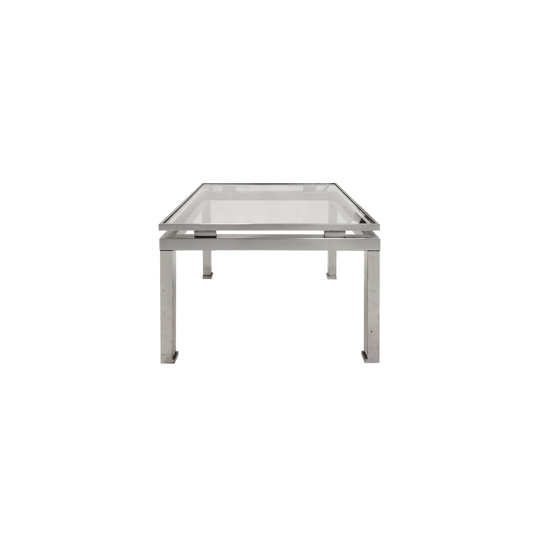 SMALL SQUARE BRUSHED NICKEL SIDE TABLE BY GUY LEFEVRE - Flair Home Collection